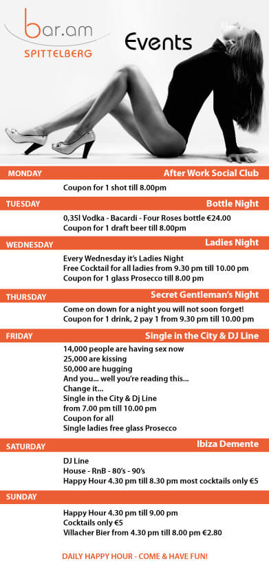 Bar am Spittelberg - Weekly Program Flyer - Front